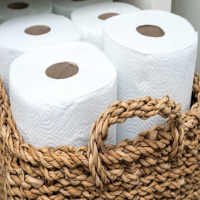 paper towel in a wicker basket.