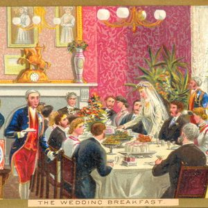 Mandatory Credit: Photo by Amoret Tanner Collection/REX/Shutterstock (6047235h) Advertisement for Huntley & Palmers biscuits showing wedding party, 1870s Art (Ephemera) - various