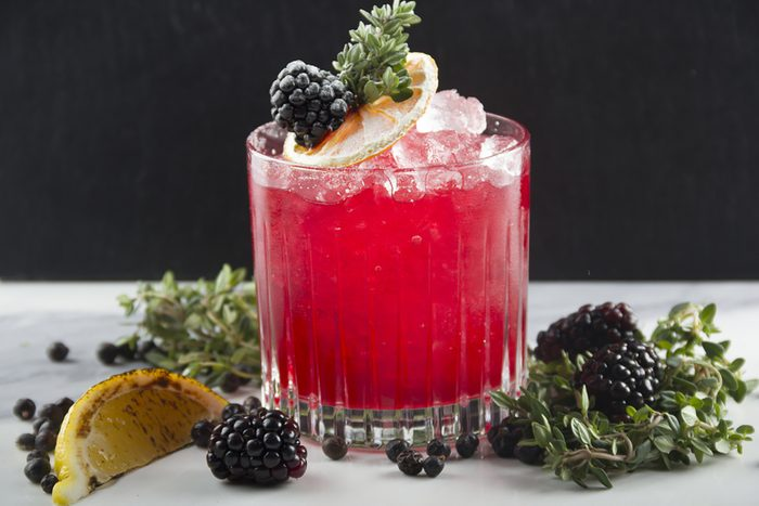 Thyme infused gin shaken with Creme de Mure, homemade blackberry & thyme shrub and blackberries