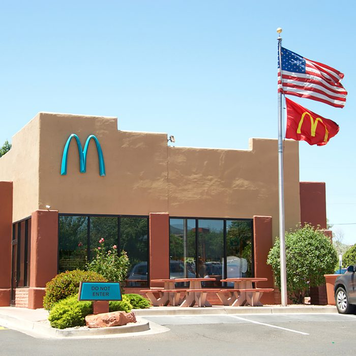 Sedona, AZ - May 13, 2017: McDonald's in Sedona, AZ is the only one in the world with turquoise arches. City officials said to feel the yellow would contrasting too much against the scenic red rock.; Shutterstock ID 643234660