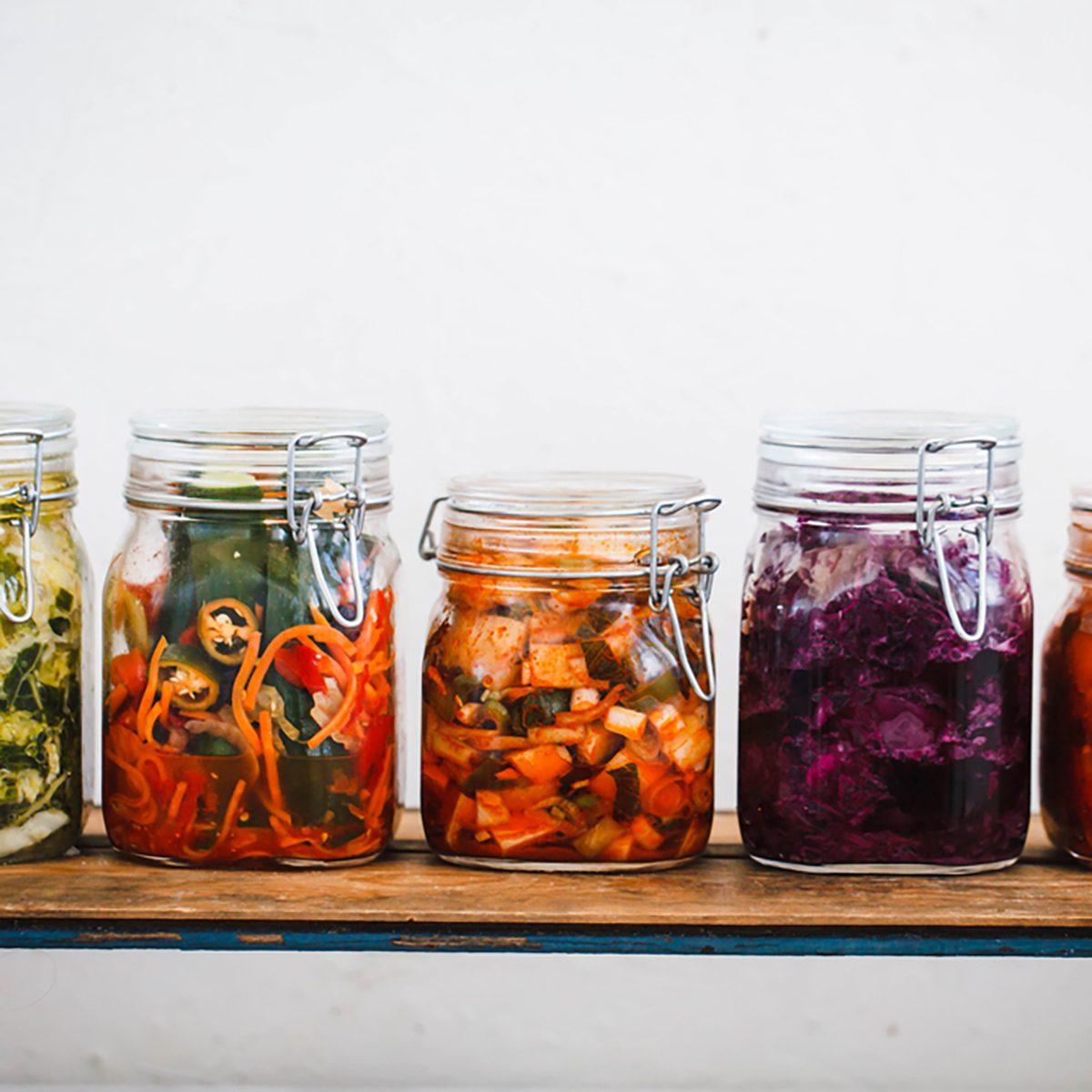 Variety kimchi masson jars.