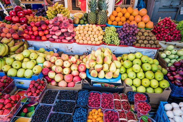 Fruit stand at farmer's market.