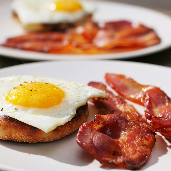 Bacon and Egg on English Muffin Breakfast