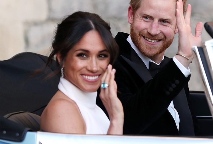 The newly married Duke and Duchess of Sussex, Meghan Markle and Prince Harry, leaving Windsor Castle after their wedding to attend an evening reception at Frogmore House The wedding of Prince Harry and Meghan Markle, Open-top car, Windsor, Berkshire, UK - 19 May 2018