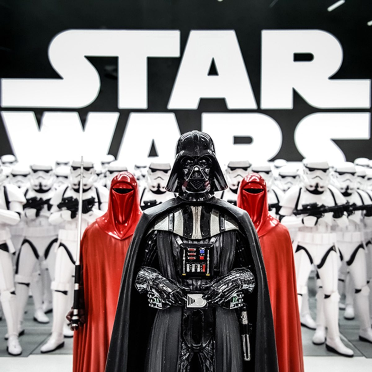 ToKyo, Japan - Feb 19 2017, Darth Vader from Star wars with Stormtroopers army figures in background ; Shutterstock ID 612277085