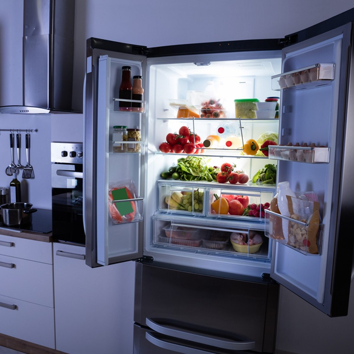 open fridge at night
