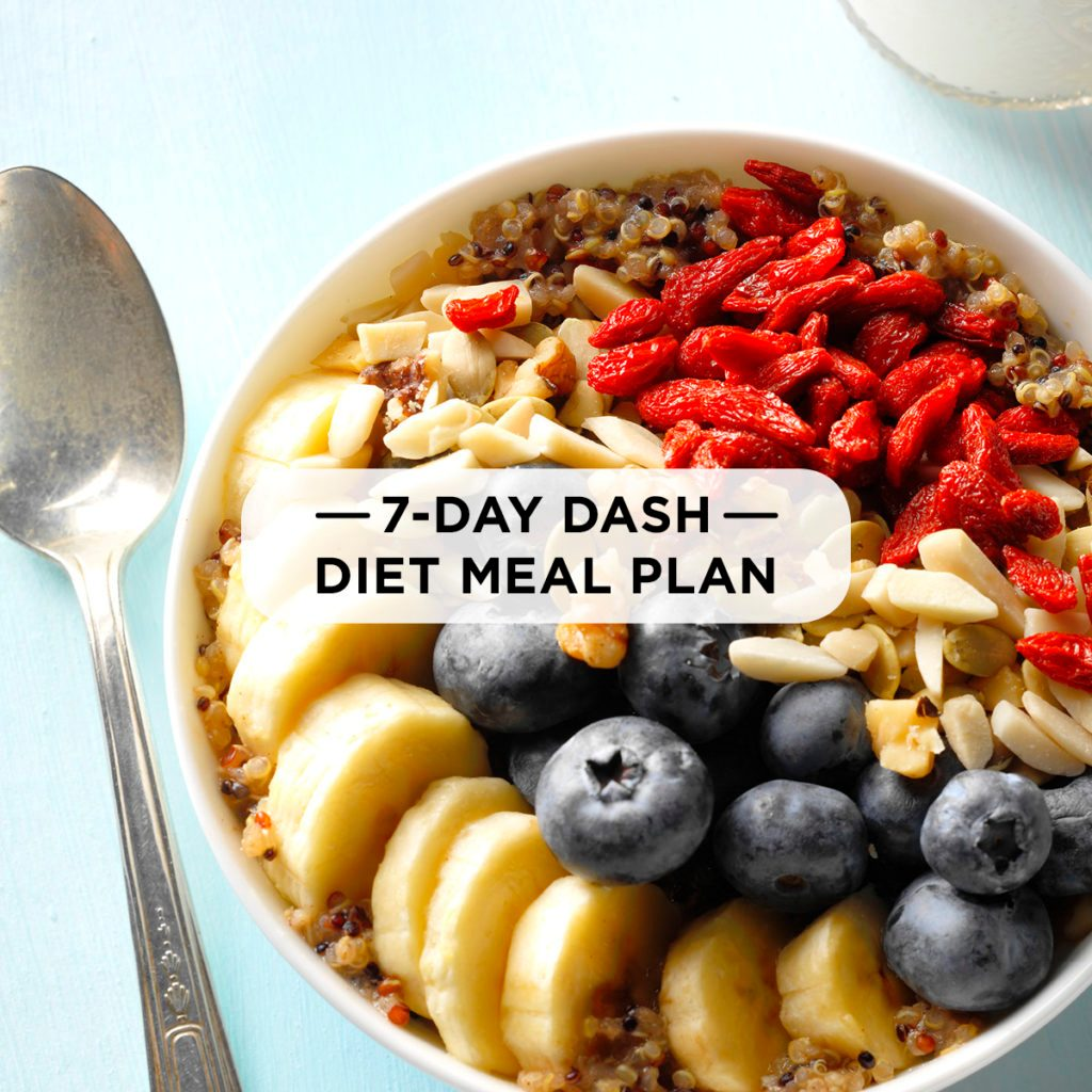 7-day dash diet meal plan | taste of home