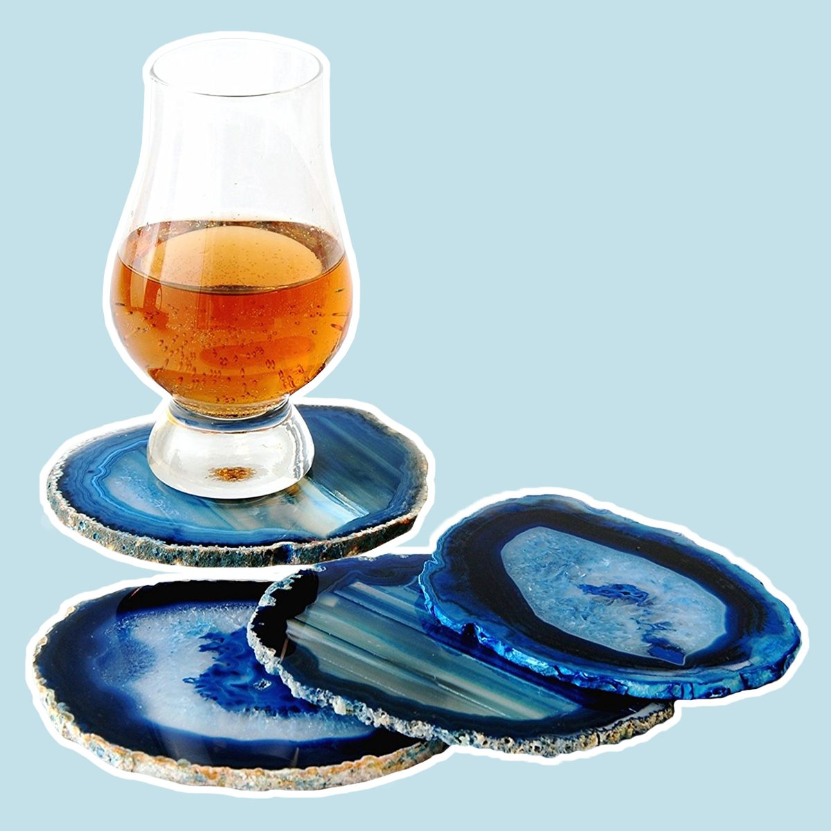 """JIC Gem: Set of 4 Blue Dyed Brazilian Agate Coasters with Rubber Bumpers 3.5""""-4"""""""