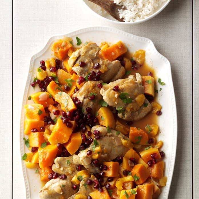 Ultra-Glam Main Dish: Chicken with Sugar Pumpkins & Apricots