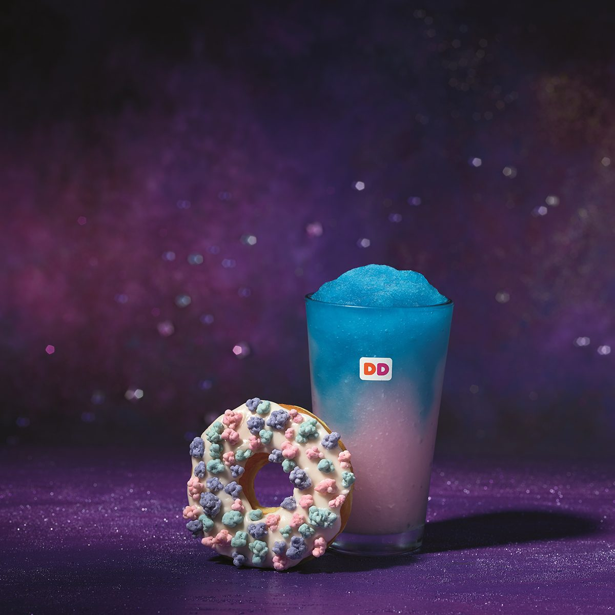 galaxy donut and drink