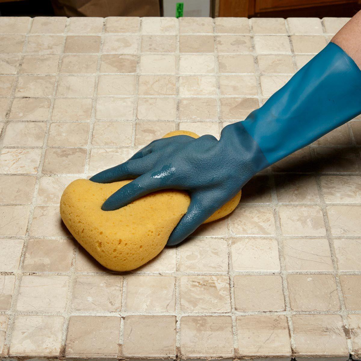 scrubbing tile