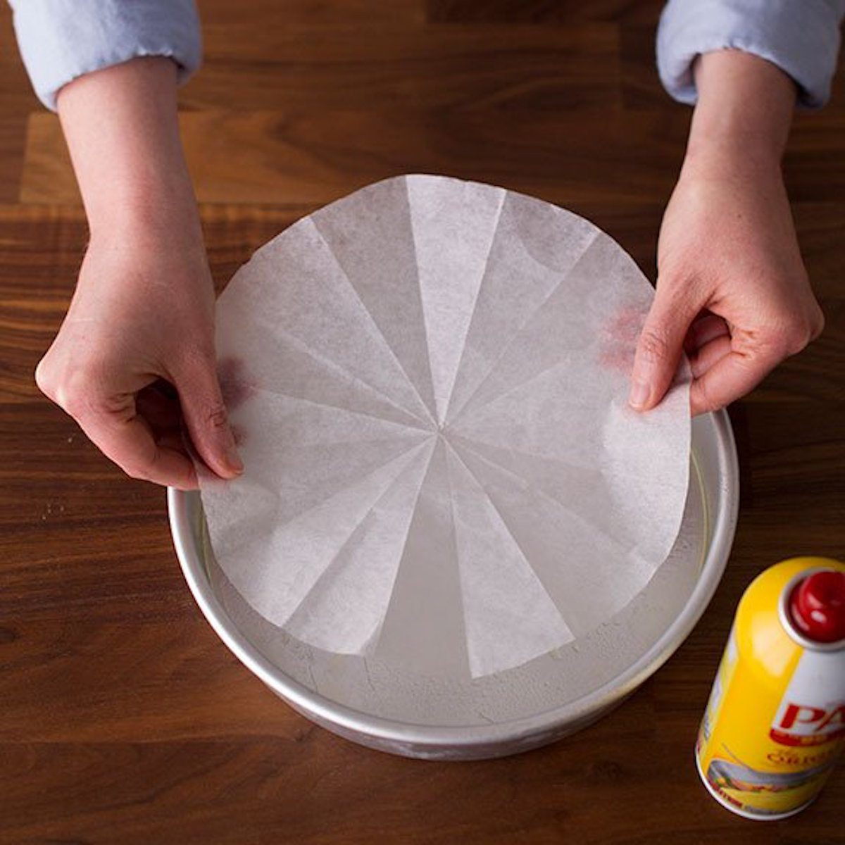parchment paper on cake pan