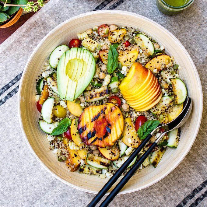 grilled peach corn zucchini quinoa salad