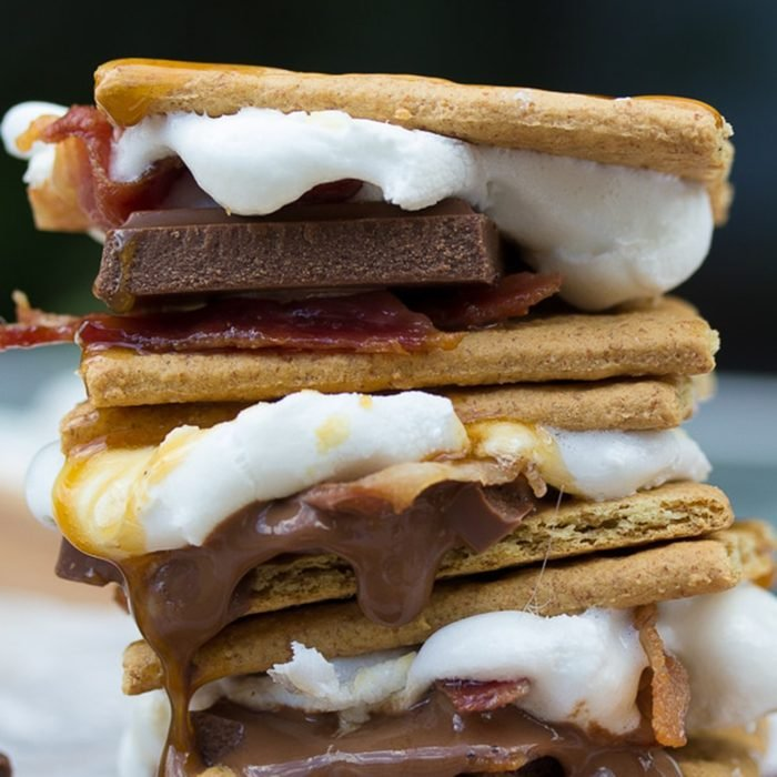 Bacon in several s'mores stacked together