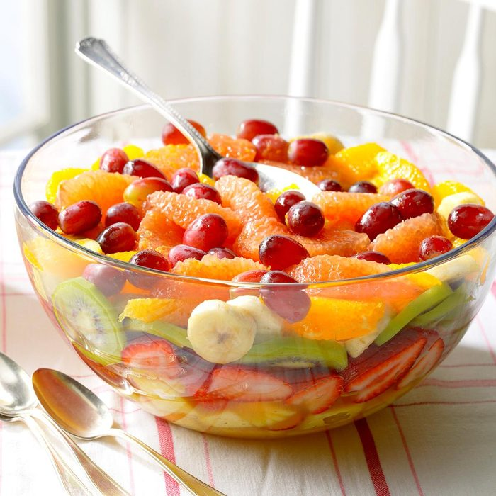 Layered fresh fruit salad