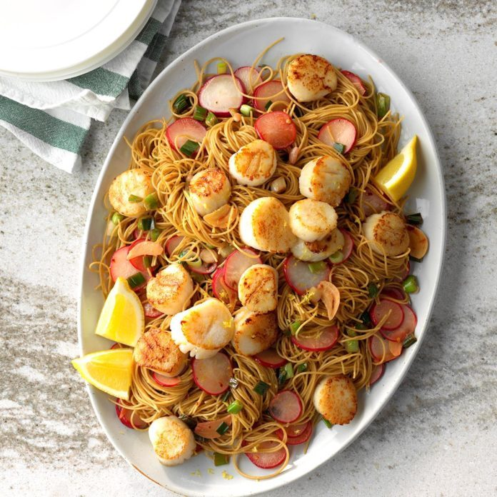 Day 23: Lemony Scallops with Angel Hair Pasta