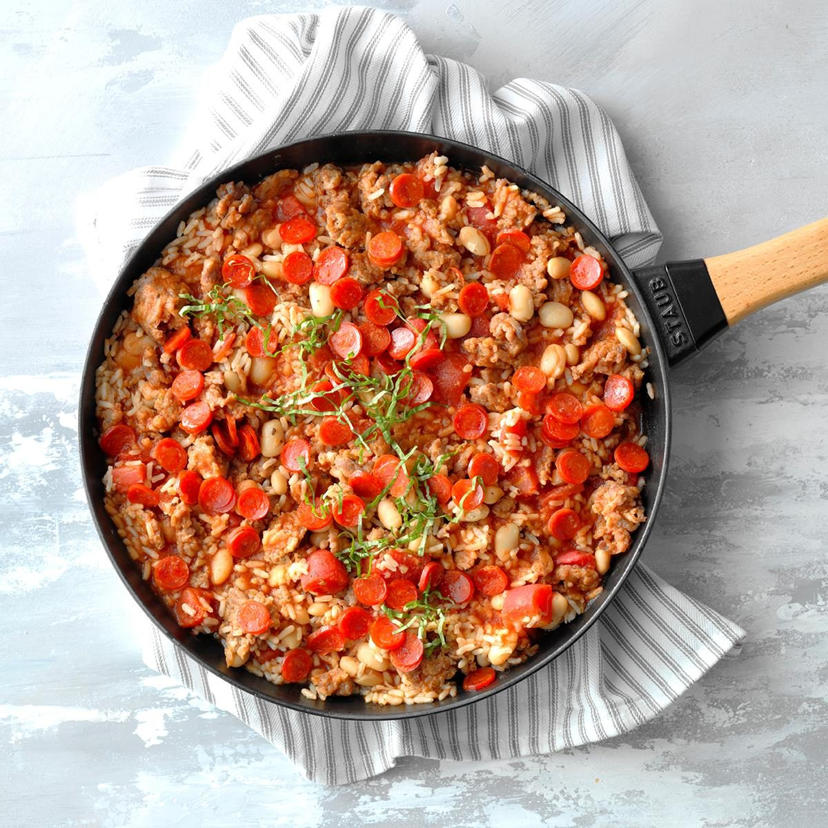 Meat Lover's Pizza Rice Skillet