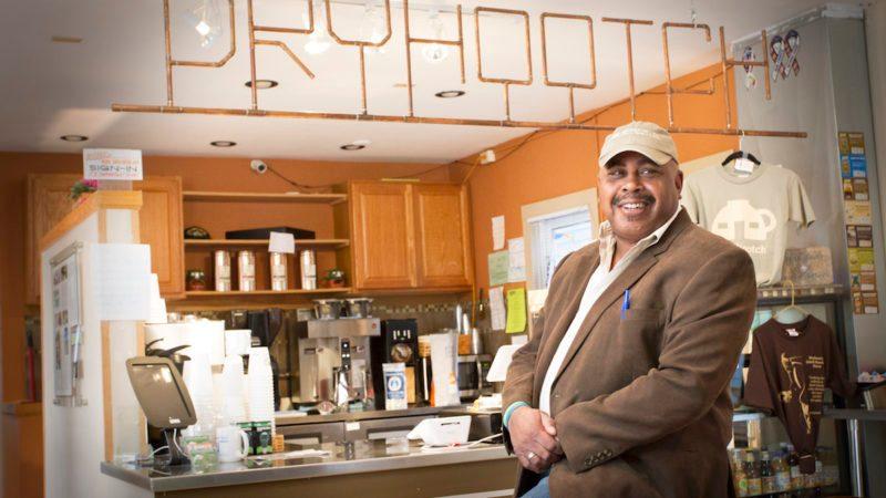 Otis Winstead visits a local Dryhootch Coffee Shop