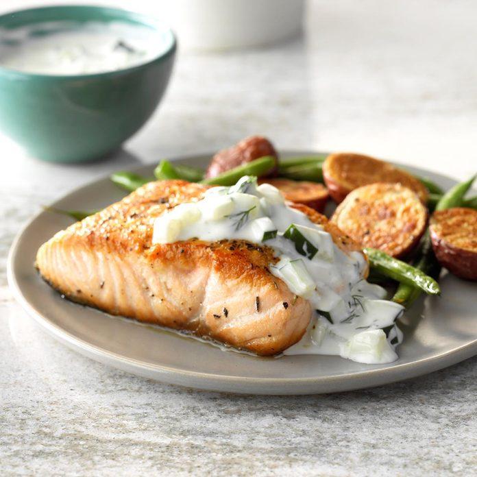 Pan-Seared Salmon with Dill Sauce