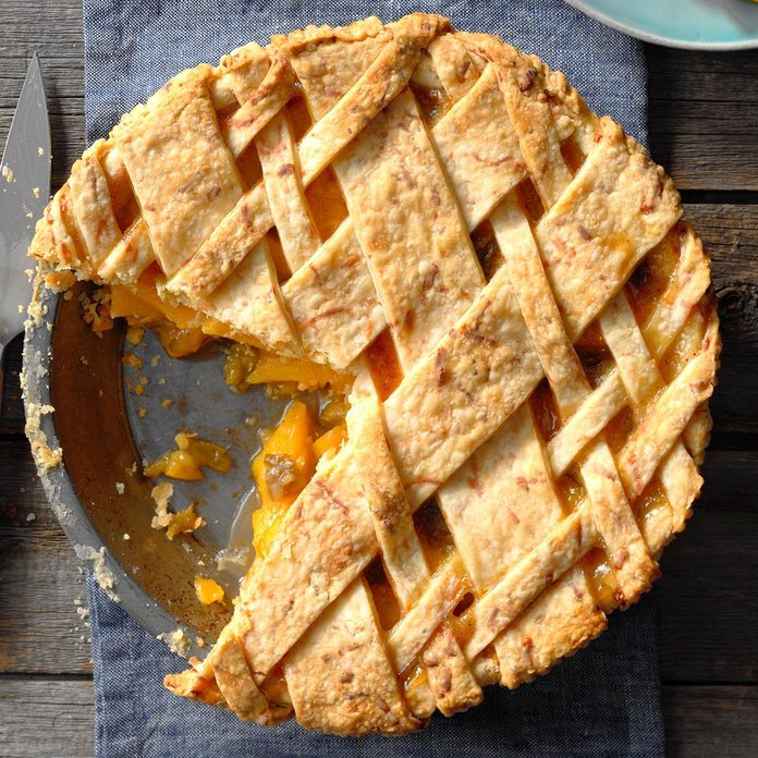 Peach, Green Chile and Cheddar Pie