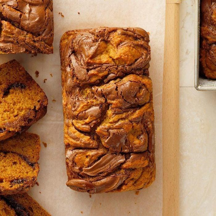 Pumpkin Bread with Nutella Swirl