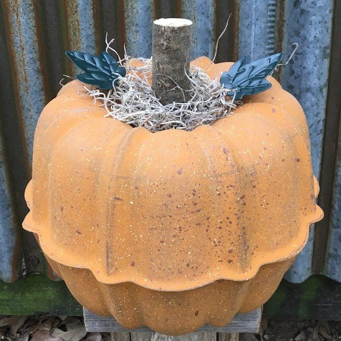 pumpkin craft made from bundt pan