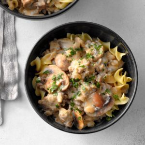 School-Night Sausage Stroganoff