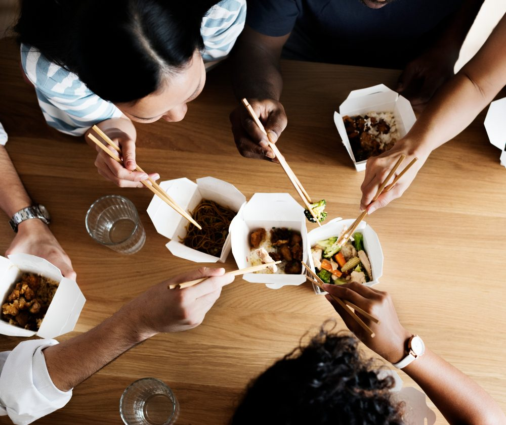Friends eating Chow mein together; Shutterstock ID 1027936723; Job (TFH, TOH, RD, BNB, CWM, CM): TOH Amazon Echo