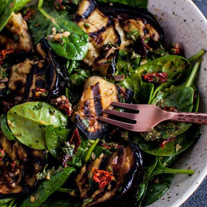 grilled eggplant spinach salad