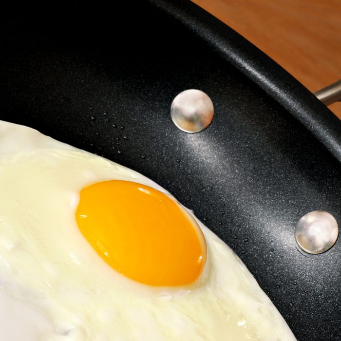 Egg being fried in healthy, eco friendly, ceramic nonstick skillet