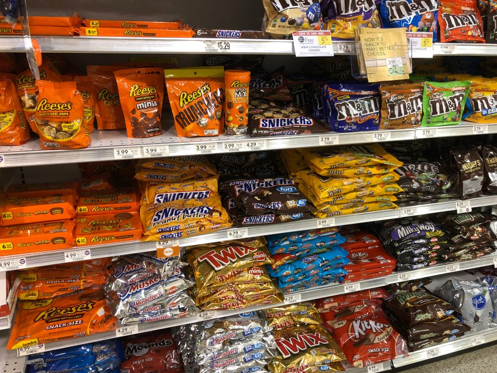 Candy aisle at local supermarket Saint Augustine, Florida USA. February 21, 2018; Shutterstock ID 1034449345; Job (TFH, TOH, RD, BNB, CWM, CM): TOH Dollar Store buys