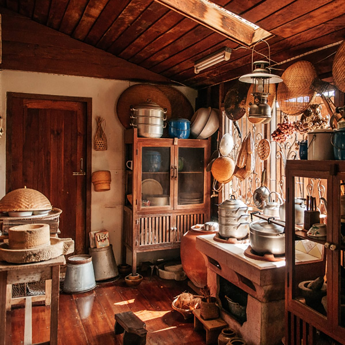 Rustic Wooden Vintage Kitchen In Country House Interior Decoration For Thai  Style House With Wooden Furnitures