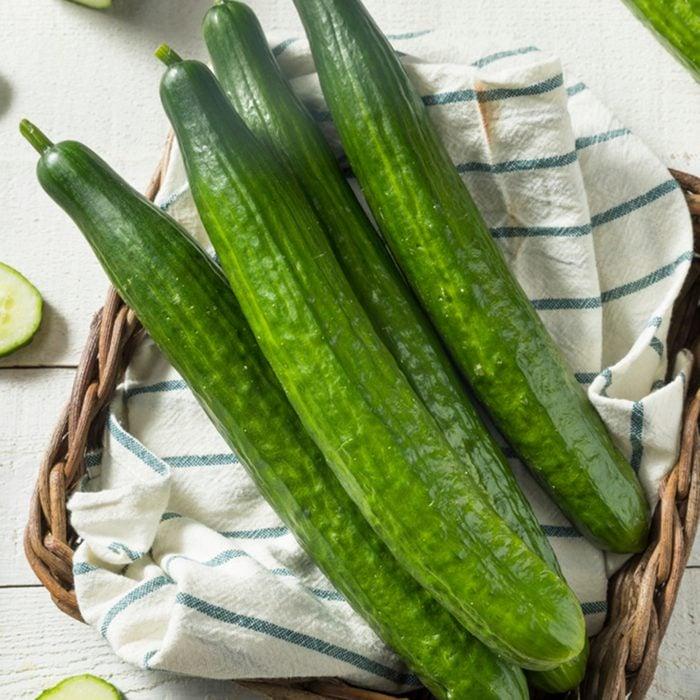 Healthy Organic Green English Cucumbers Ready to Eat; Shutterstock ID 1058462660