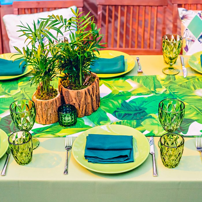Table setting in a restaurant at a tropical party