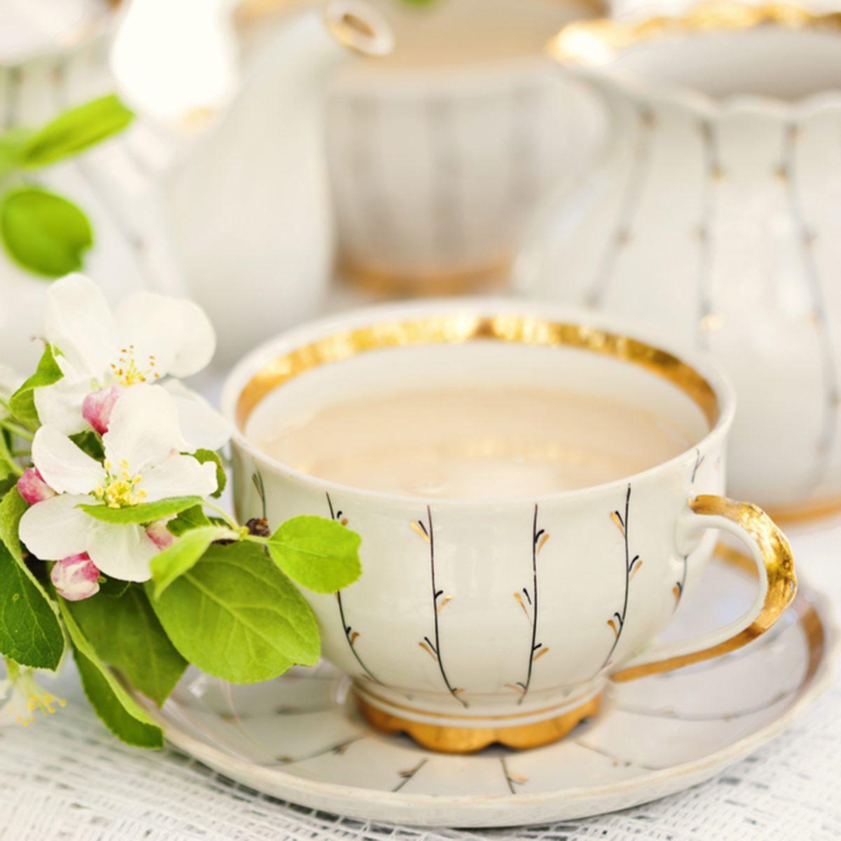 English tea in spring garden
