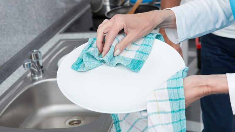 Close-up Of Woman Wiping Plate With Dishcloth