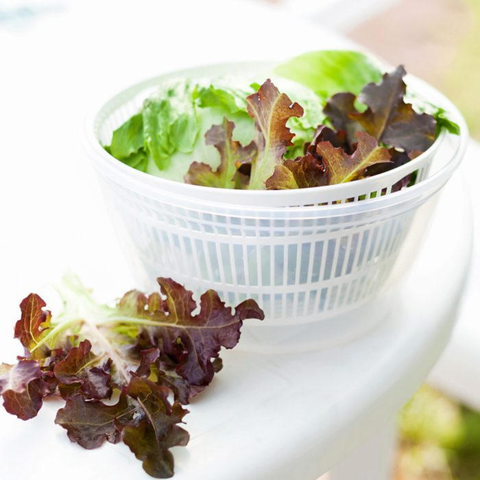 Salad spinner with iceberg and red lettuce