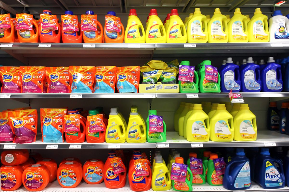 TORONTO, CANADA - MAY 06, 2014: Different types of detergents on shelves in a supermarket. Tide is a laundry detergent manufactured by Procter & Gamble and one of the top three brands of detergents.; Shutterstock ID 230120146; Job (TFH, TOH, RD, BNB, CWM, CM): Taste of Home