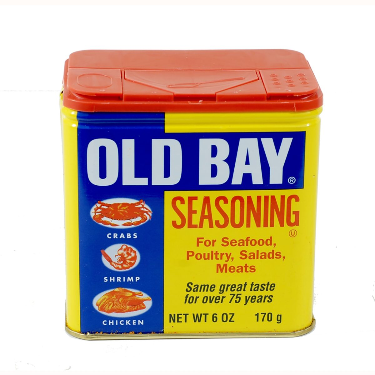 A can of Old Bay Seasoning made by McCormick in the Chesapeake Bay area in Maryland.