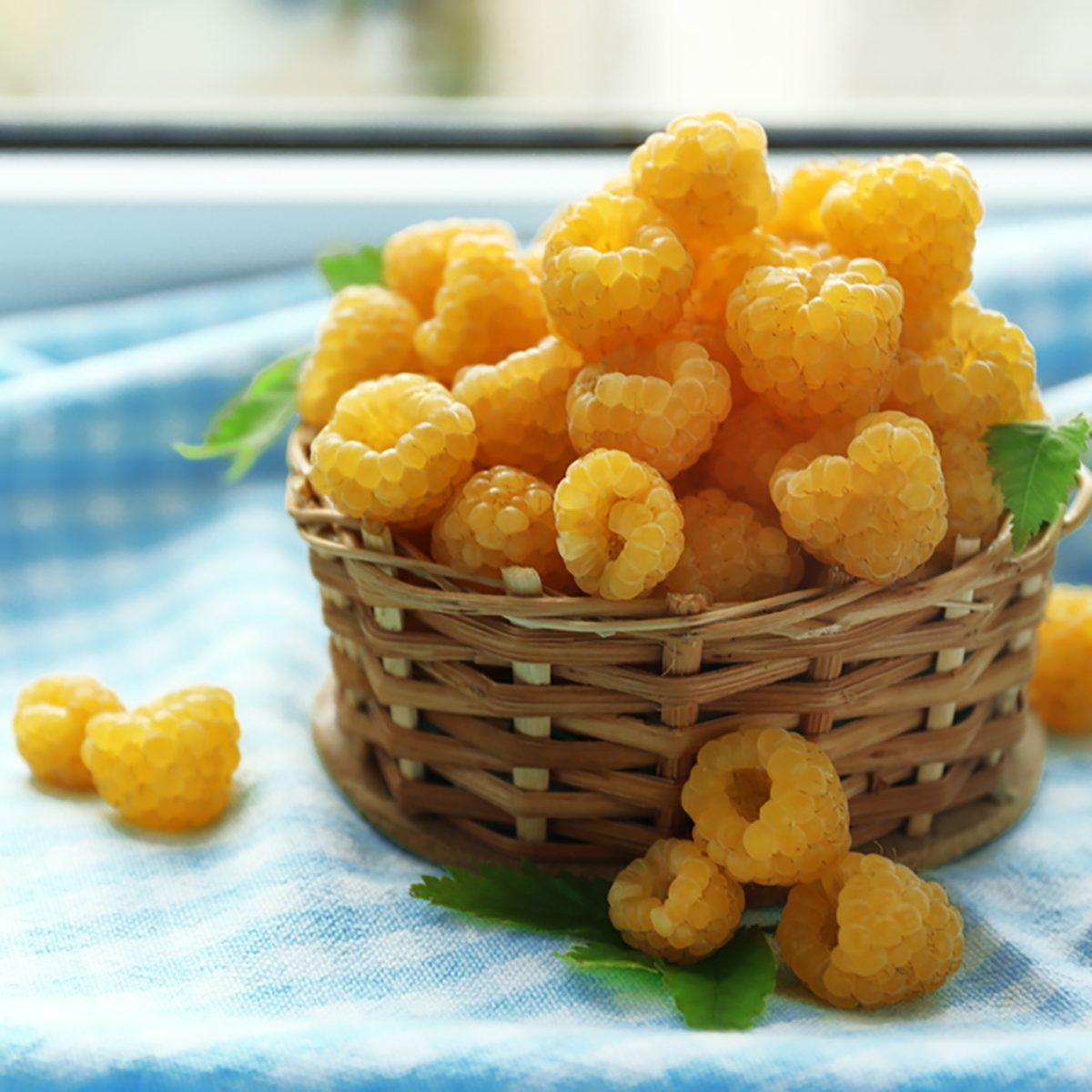 Yellow raspberries on checkered napkin, closeup;