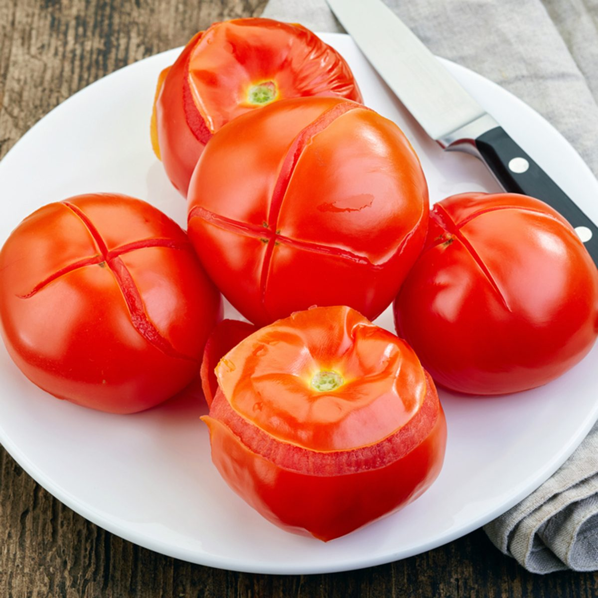 blanched tomatoes on plate