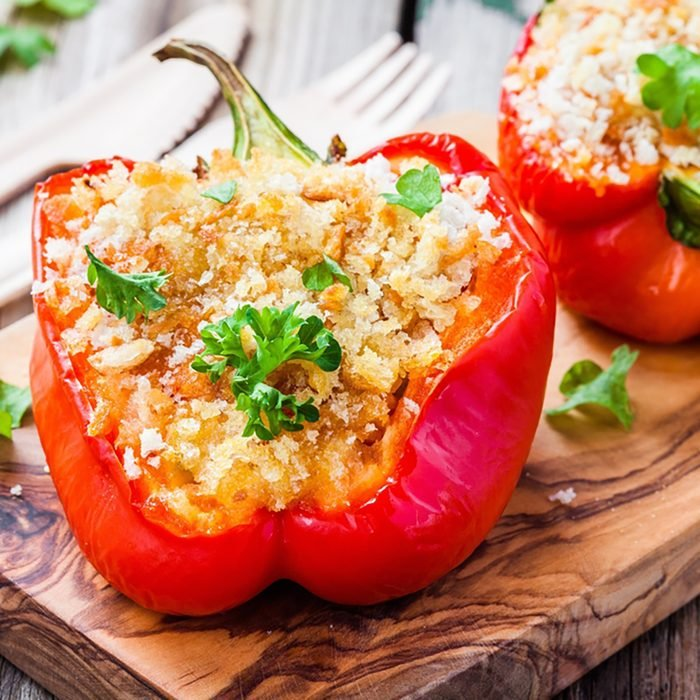 vegetarian stuffed paprika peppers with breadcrumbs and parsley;