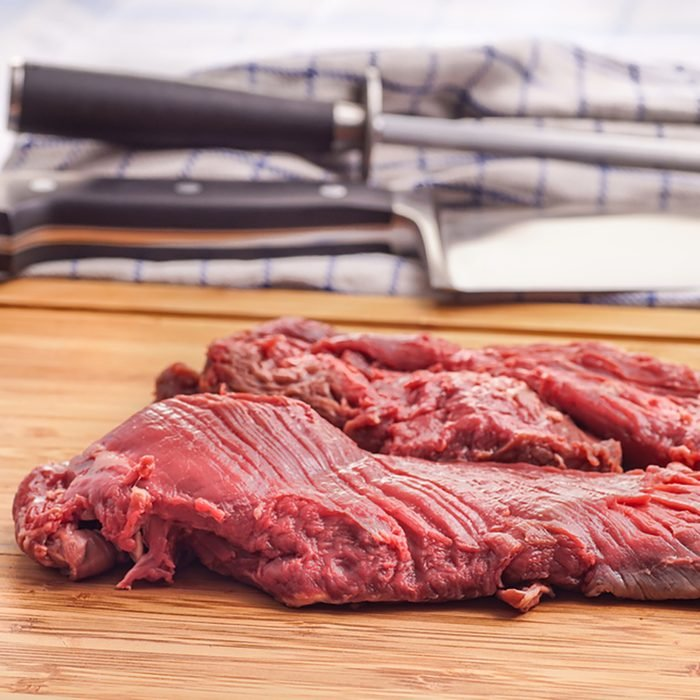 Hanging tender, Hanger steak, onglet - after the meat has been trimmed by the butcher.
