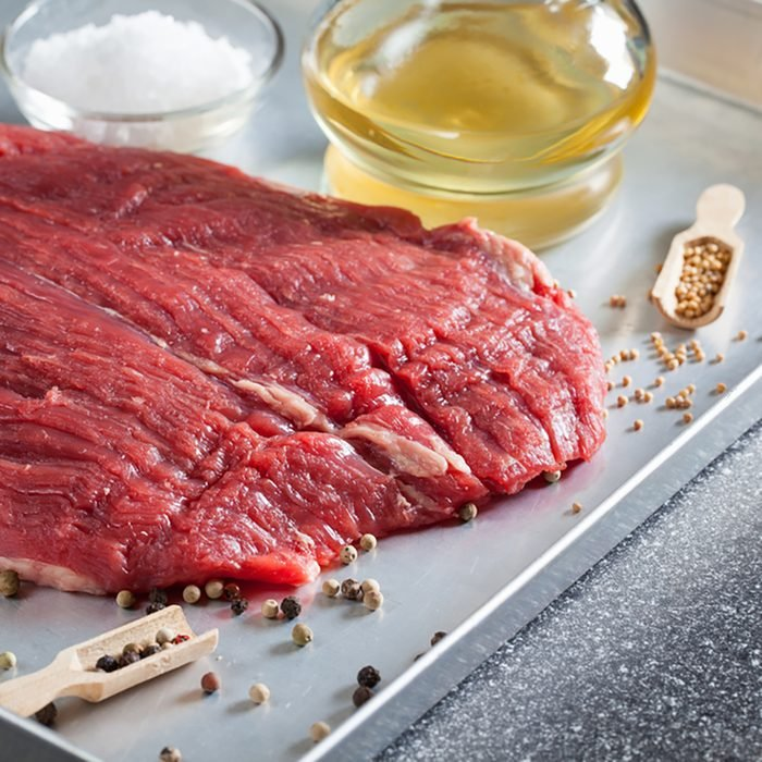 Raw ingredients for cooking flank steak
