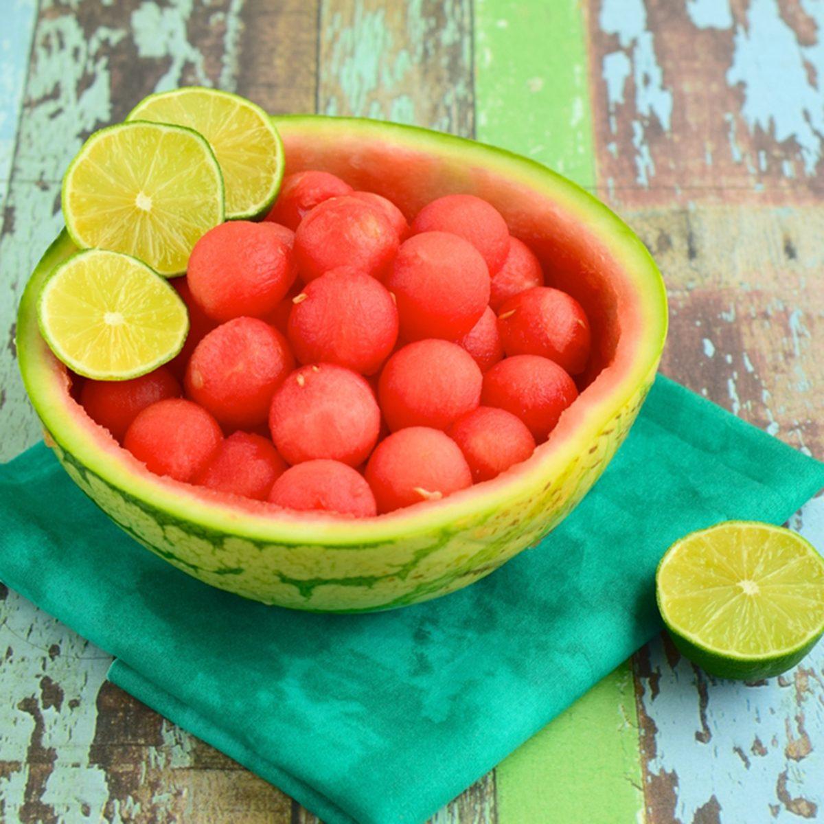 Fruit salad with watermelon balls