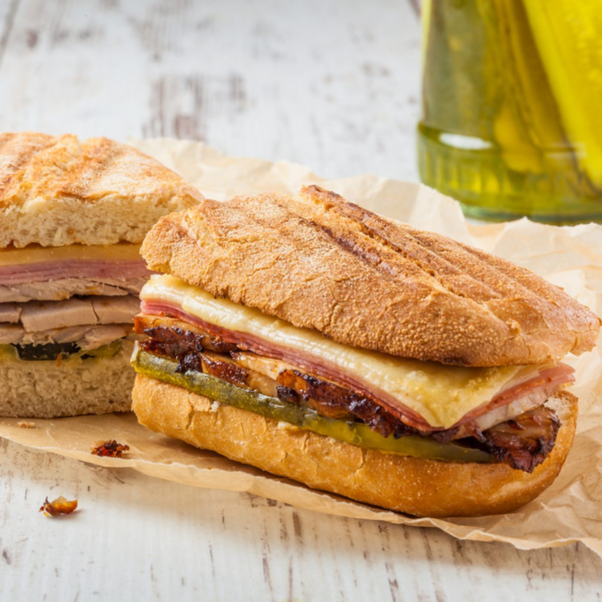 Traditional Cuban Sandwich with Ham, Pork and Cheese