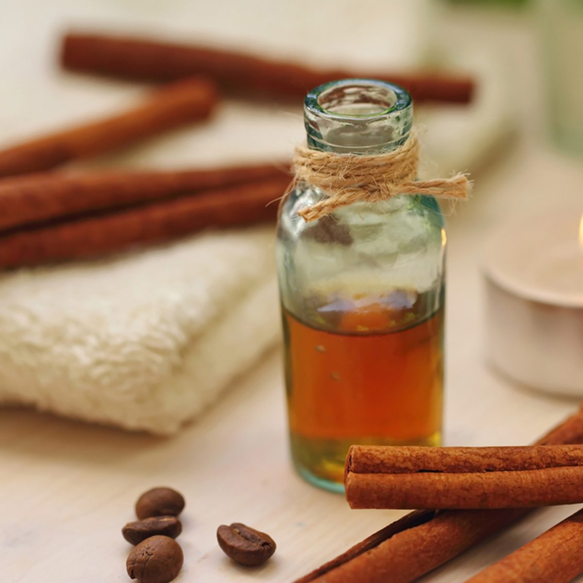 Healthcare and SPA. Essential aroma oil with cinnamon and coffee beans; Shutterstock ID 518943121; Job (TFH, TOH, RD, BNB, CWM, CM): TOH