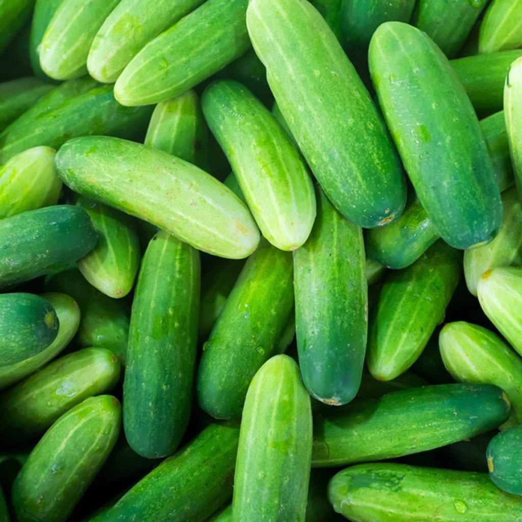 Green Cucumbers, on shelf, supermarket Top View; Shutterstock ID 520879192; Job (TFH, TOH, RD, BNB, CWM, CM): Taste of Home