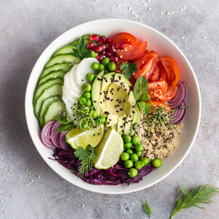 Healthy vegan lunch bowl