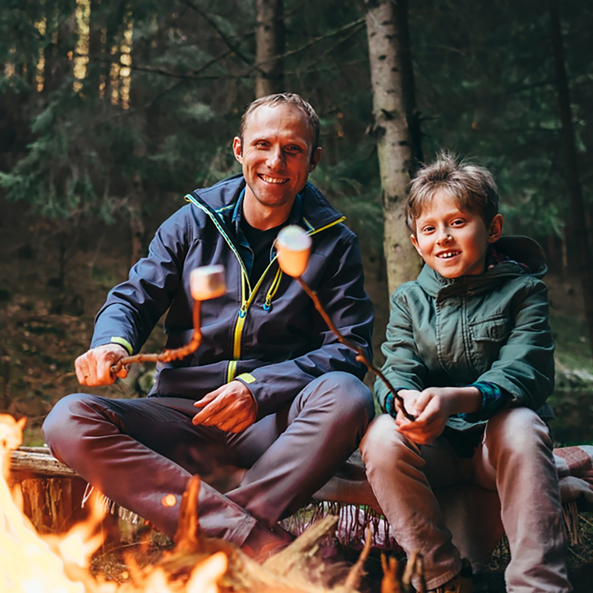 Father and son roast marshmallow candies on the campfire in forest.